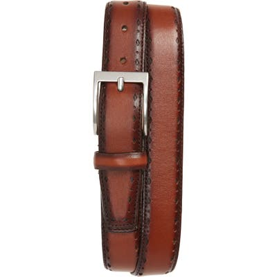 Cole Haan Perforated Leather Belt, British Tan