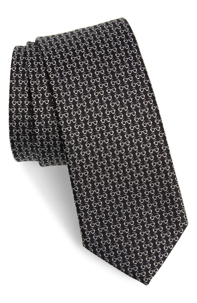SALVATORE FERRAGAMO Ibiza Print Silk Tie, Main, color, F.BLACK