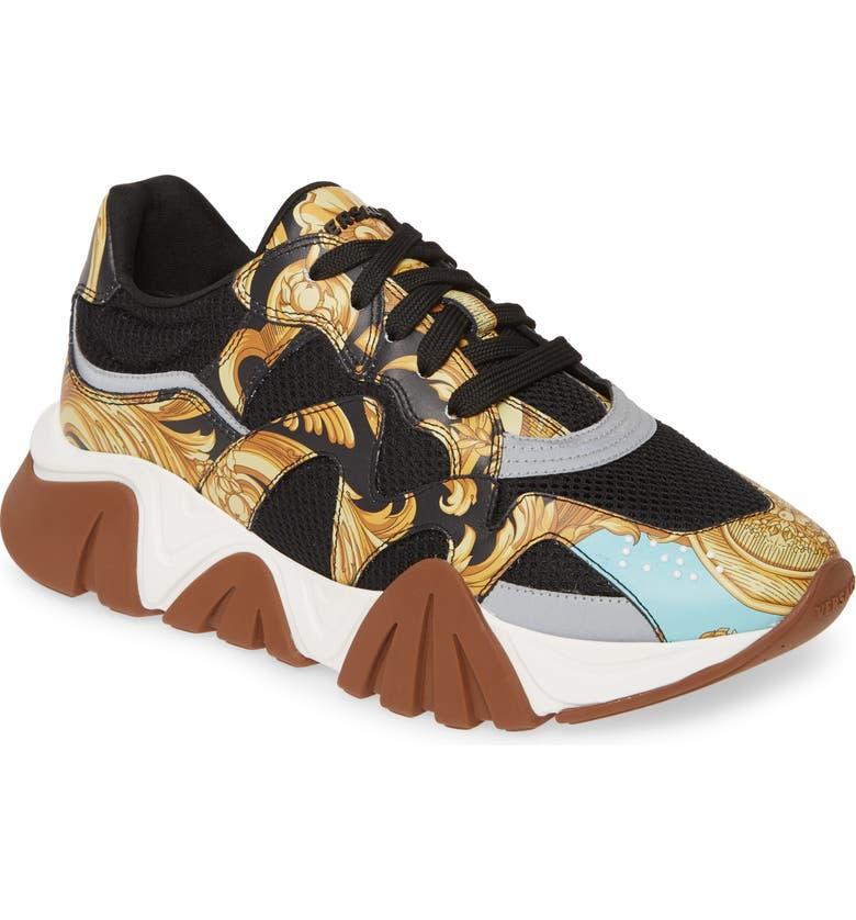 VERSACE Achilles Sneaker, Main, color, GREEN/ SILVER/ BLACK