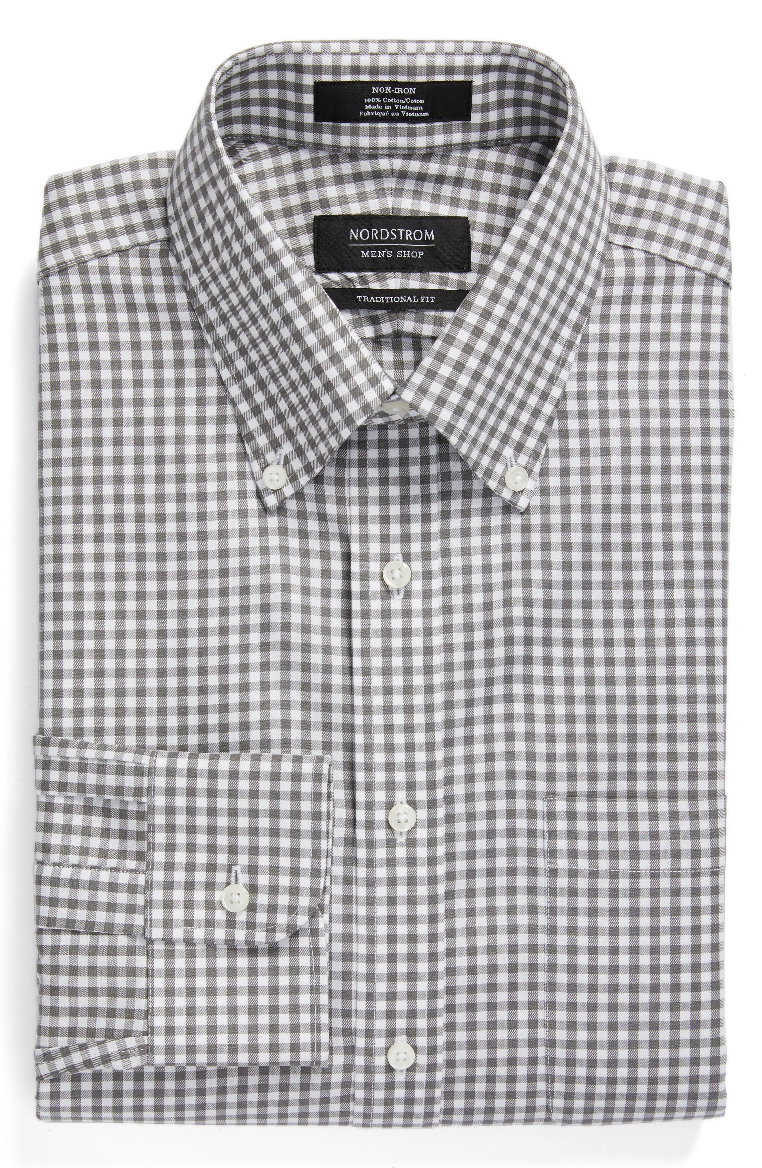 ,                             Traditional Fit Non-Iron Gingham Dress Shirt,                             Alternate thumbnail 7, color,                             030