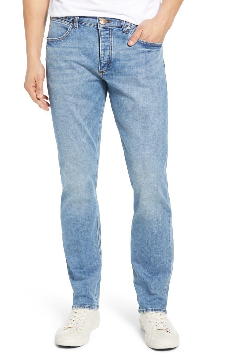 WRANGLER Slider Slim Straight Leg Jeans, Main, color, REVIVAL BLUE