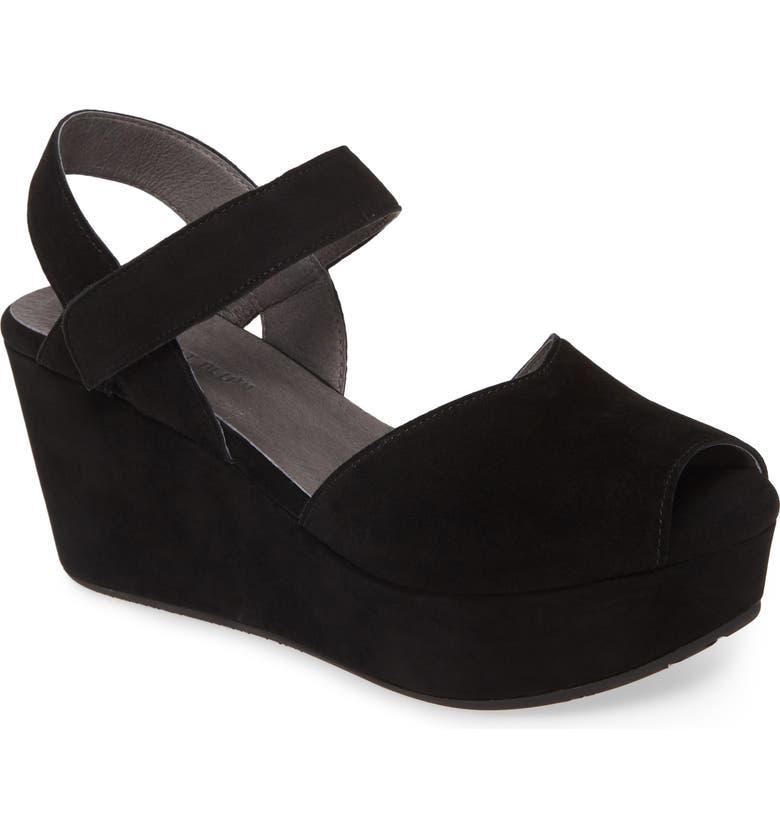 CHOCOLAT BLU Waffy Platform Wedge Sandal, Main, color, BLACK SUEDE