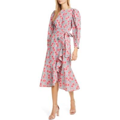 Rebecca Taylor Coral Fleur Long Sleeve Cotton Midi Dress, White