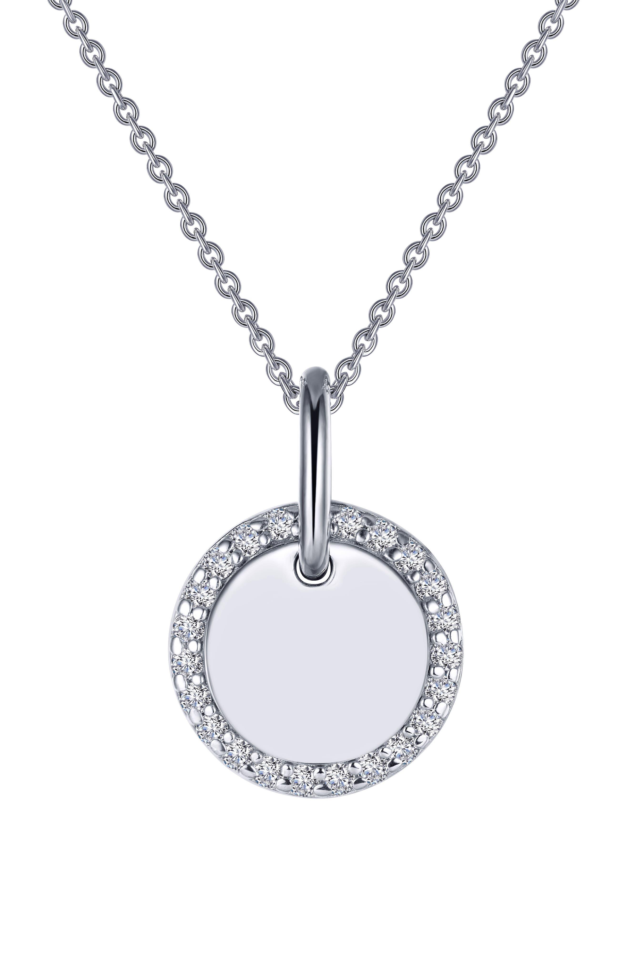 Classic Simulated Diamond Round Disc Pendant Necklace