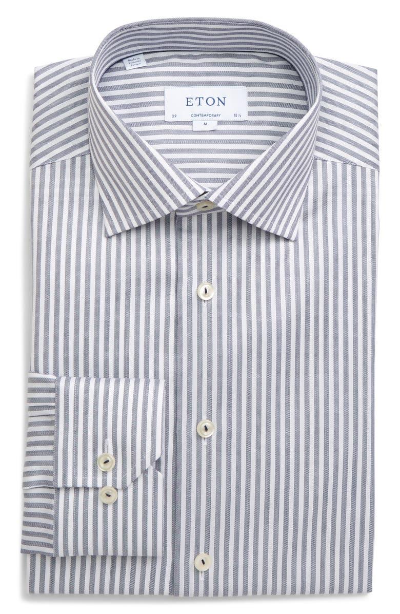 ETON Contemporary Fit Stripe Dress Shirt, Main, color, 400
