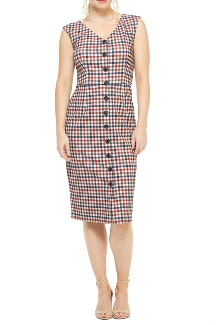 Image of Maggy London Cher Button Front Plaid Midi Dress