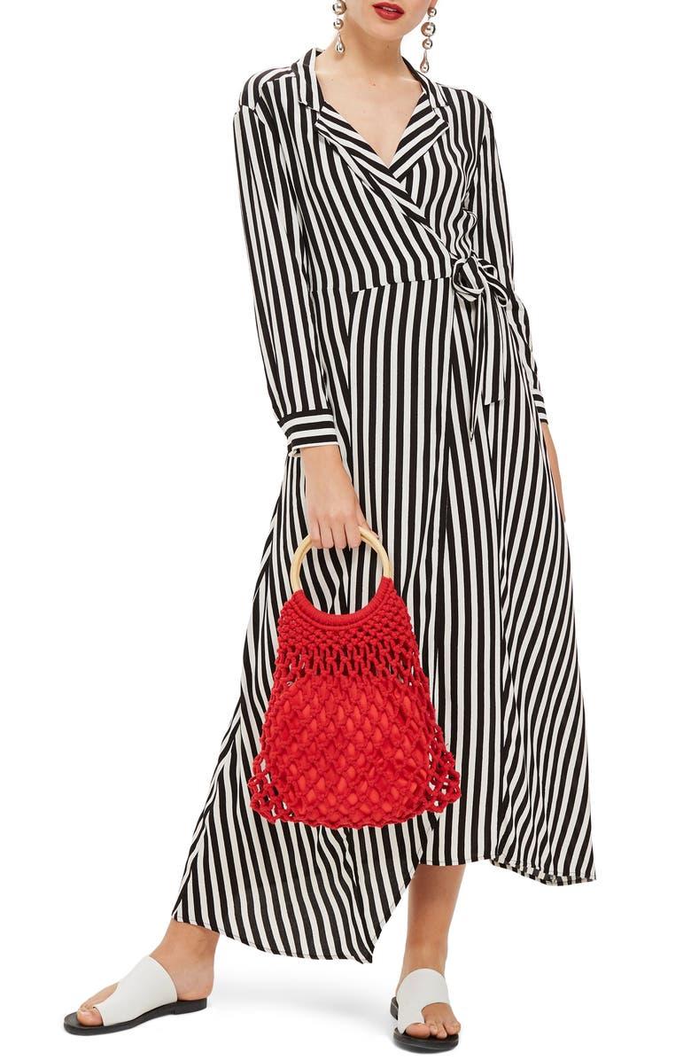 TOPSHOP Stripe Wrap Midi Shirtdress, Main, color, 002