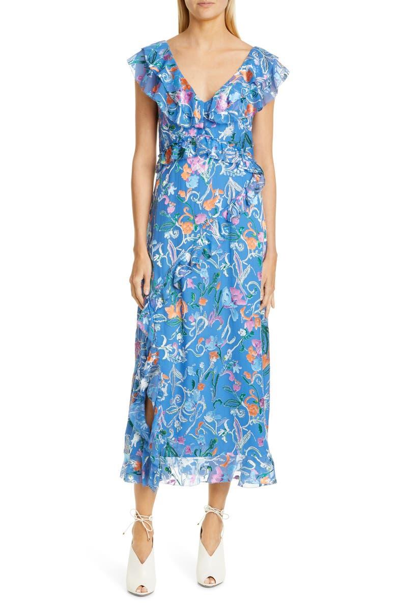 TANYA TAYLOR Arielle Floral Ruffle Detail Midi Dress, Main, color, 485