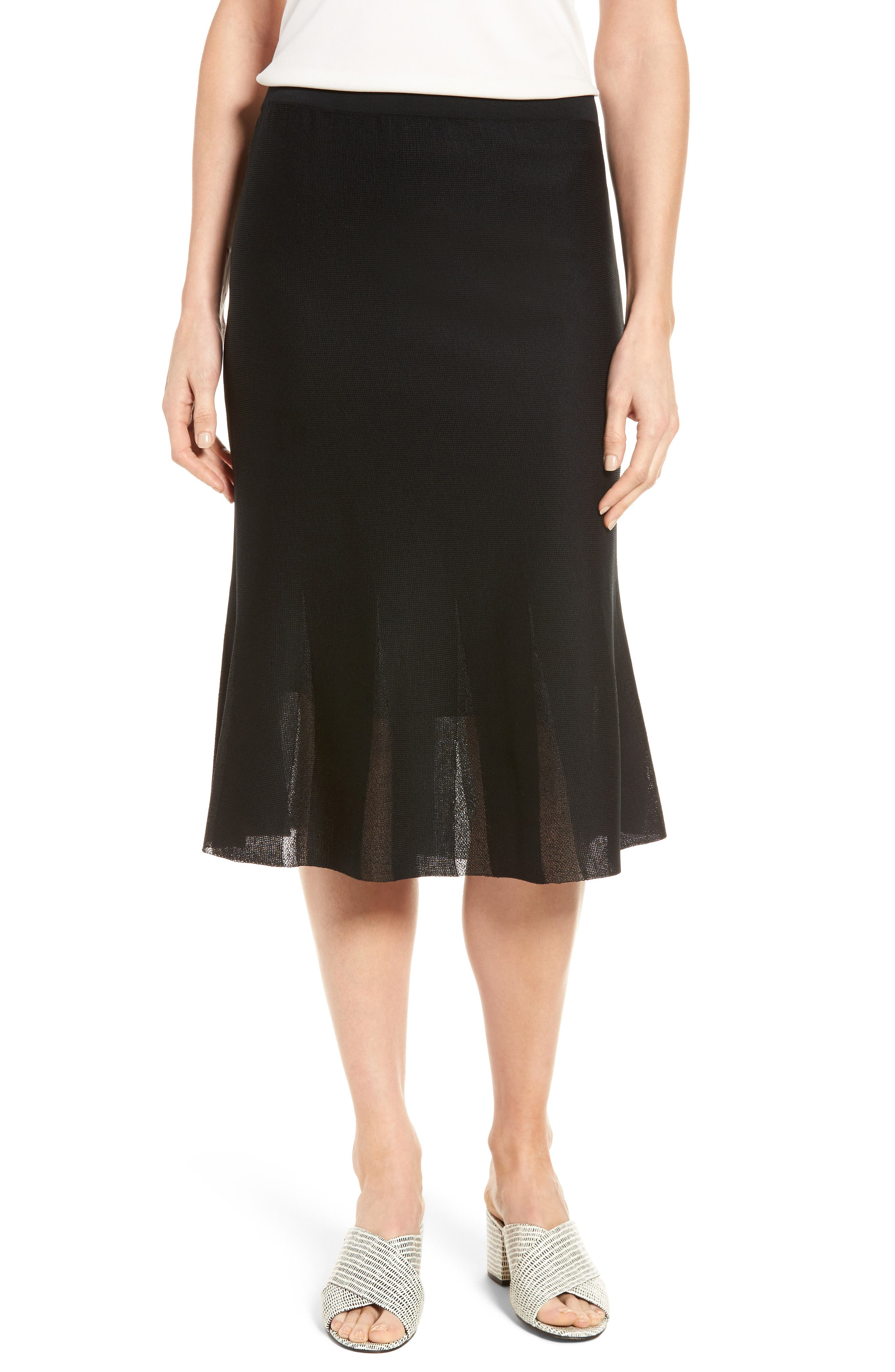 Ming Wang Knit Flared Skirt, Black
