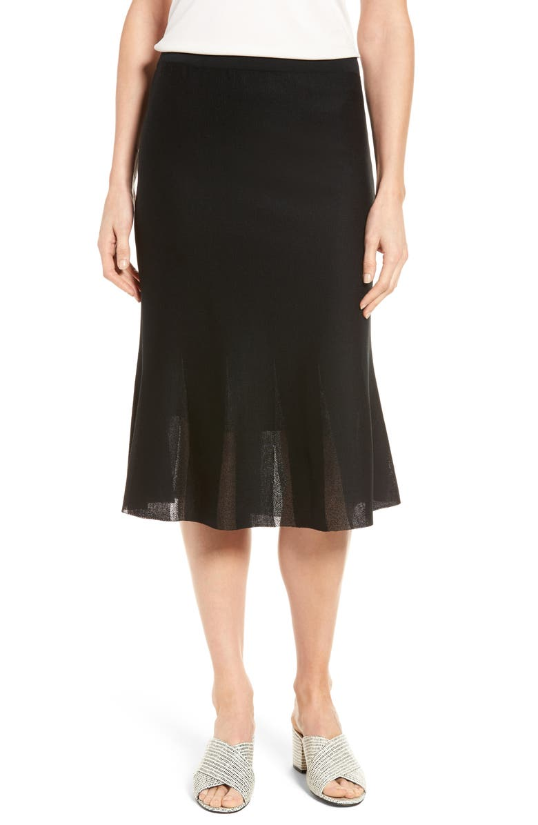 MING WANG Knit Flared Skirt, Main, color, BLACK