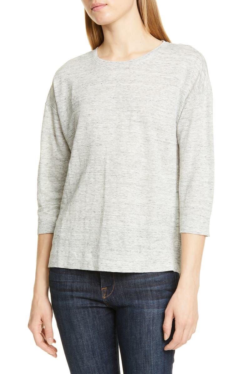 NORDSTROM SIGNATURE Linen Knit Top, Main, color, GREY MEDIUM HEATHER