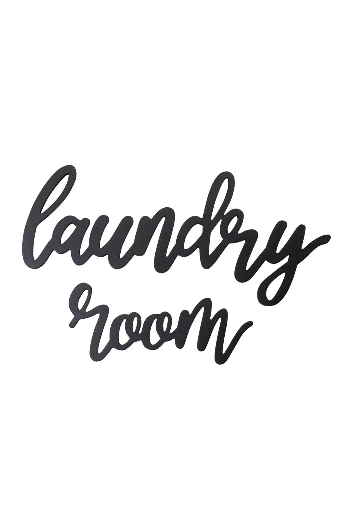 Image of Stratton Home Black Wood Laundry Room Script Wall Decor