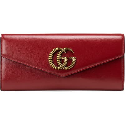 Gucci Broadway Leather Envelope Clutch - Red