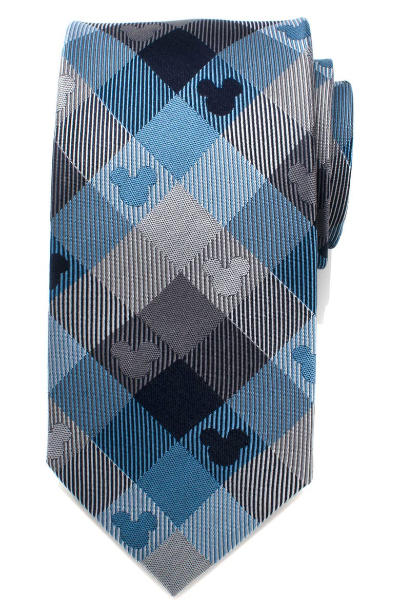 CUFFLINKS, INC. Mickey Mouse Plaid Silk Tie, Main, color, BLUE/ GREY
