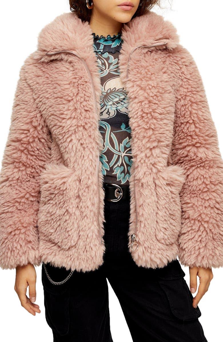 TOPSHOP Jonas Faux Shearling Jacket, Main, color, 650