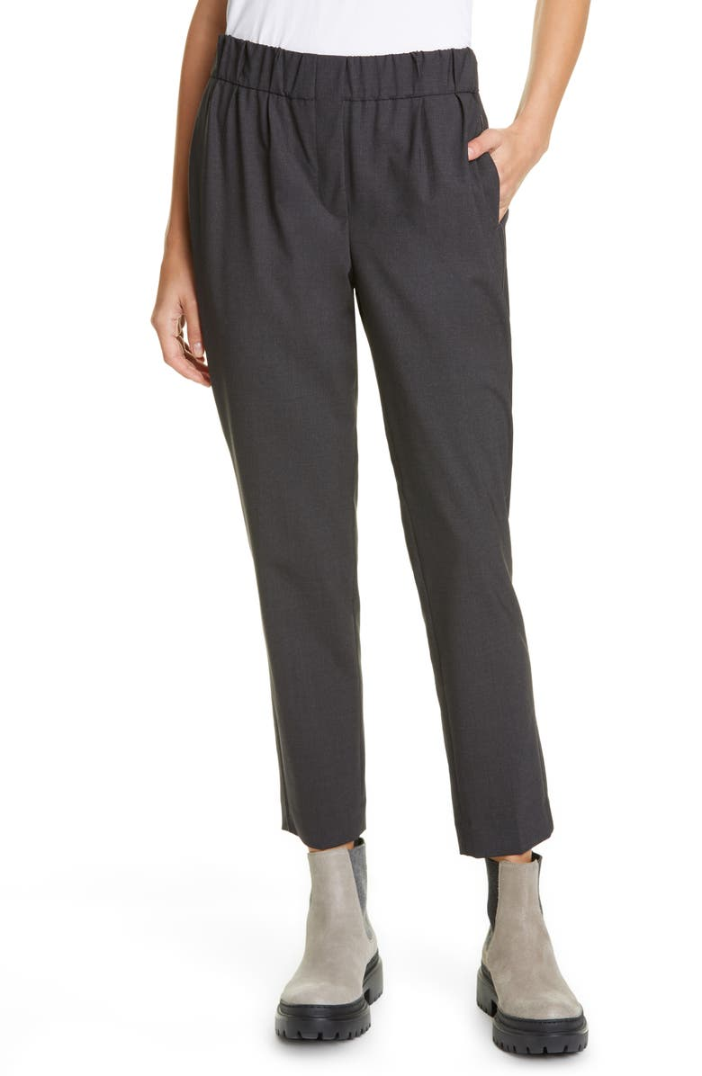 BRUNELLO CUCINELLI Monili Side Stripe Wool Blend Crop Pants, Main, color, ANTRACITE