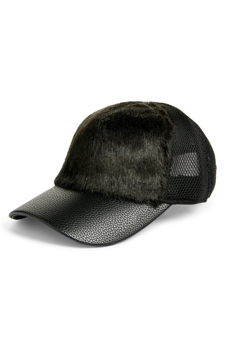 SWEAT ACTIVE Faux Fur Trucker Hat, Main, color, BLACK