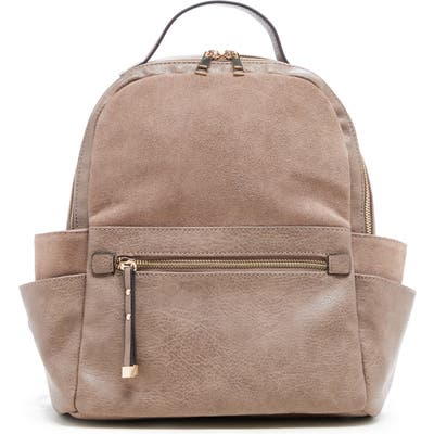Sole Society Faux Leather & Suede Backpack - Grey