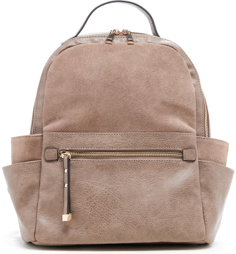 SOLE SOCIETY Faux Leather & Suede Backpack, Main, color, MUSHROOM
