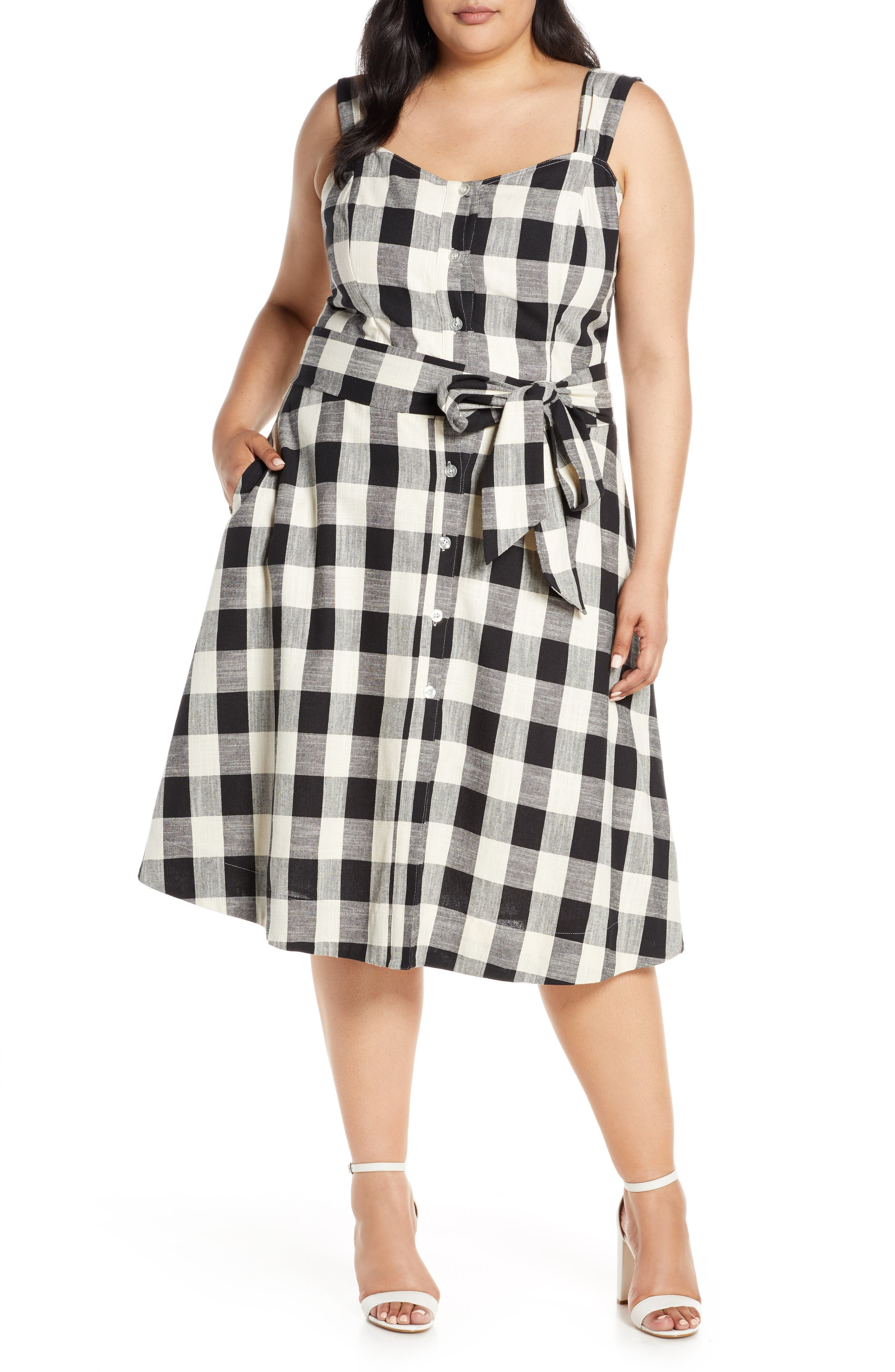 Plus Size Rachel Roy Collection Gingham Cotton Sundress, Ivory