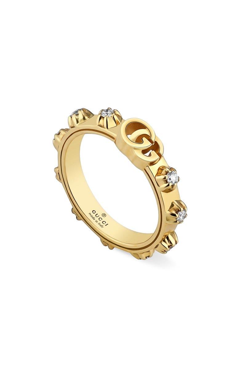 GUCCI GG Running Diamond Ring, Main, color, YELLOW GOLD