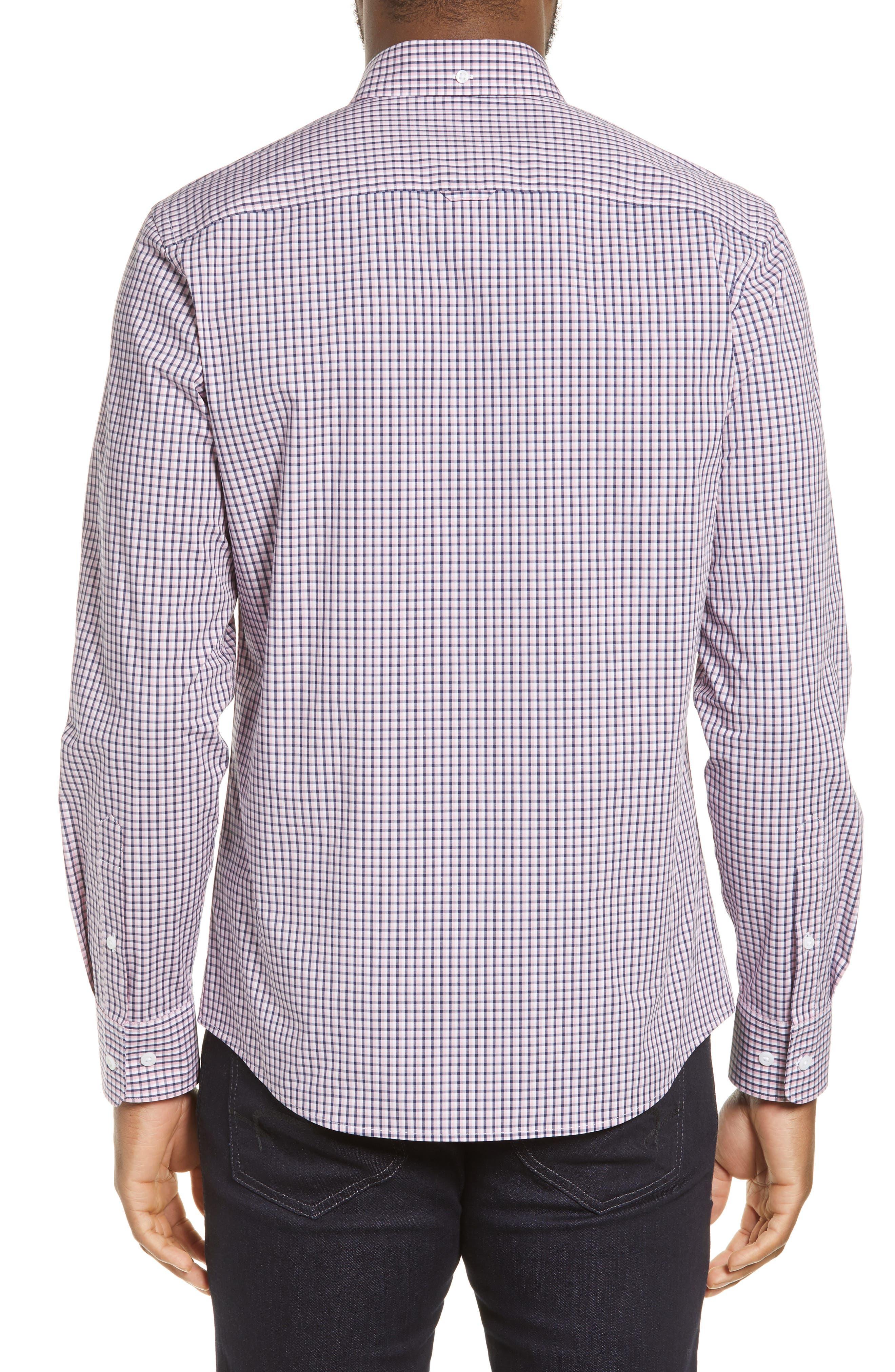 ,                             Tech-Smart Regular Fit Check Sport Shirt,                             Alternate thumbnail 3, color,                             NAVY MEDIEVAL PINK CHECK