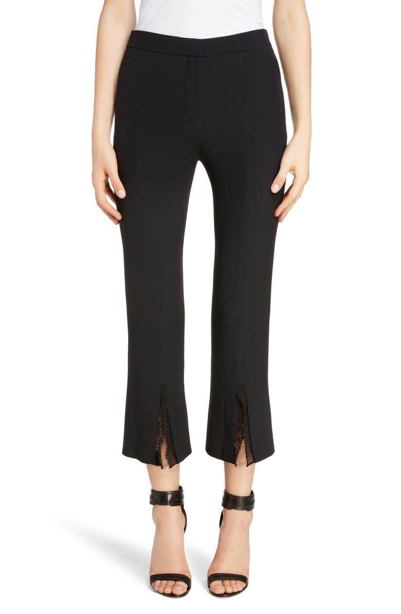 ALEXANDER MCQUEEN Lace Trim Split Hem Pants, Main, color, 1000 - BLACK