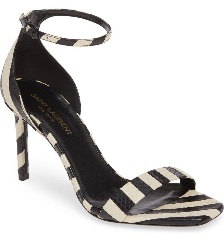 SAINT LAURENT Amber Stripe Genuine Snakeskin Sandal, Main, color, OFF WHITE/ BLACK SNAKE