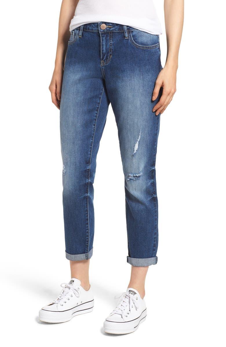 PROSPERITY DENIM Ripped Girlfriend Jeans, Main, color, BLUE