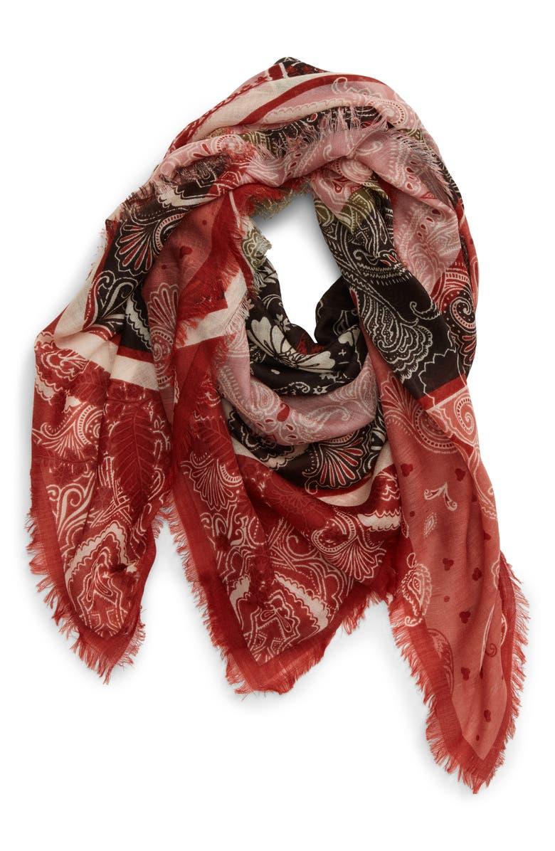 TREASURE & BOND Print Wool Scarf, Main, color, RED PAISLEY LANE PRINT