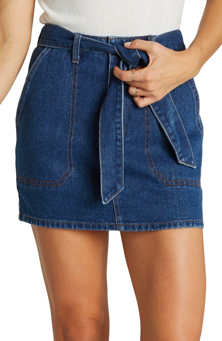 BILLABONG Live Simple Belted Denim Miniskirt, Main, color, 400