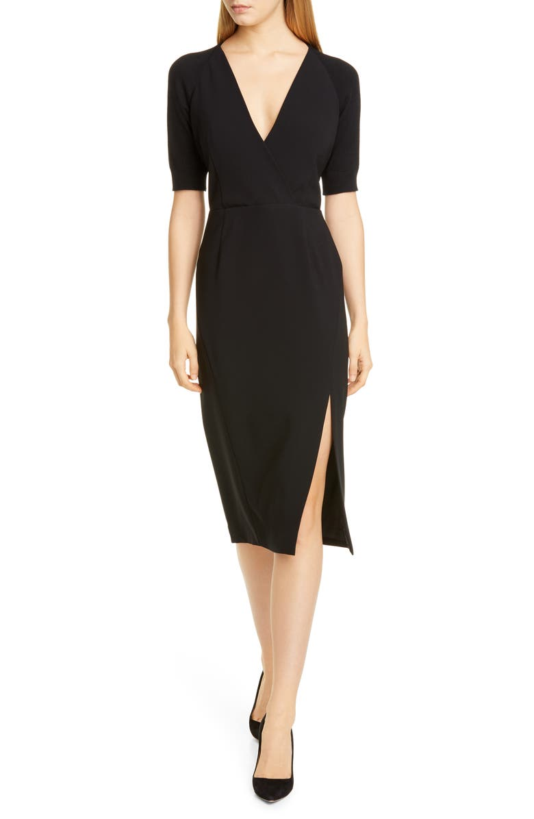 ALTUZARRA V-Neck Knit Sleeve Woven Sheath Dress, Main, color, 000001 BLACK