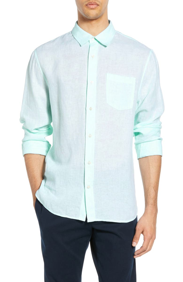 VINCE Slim Fit Linen Shirt, Main, color, CATALINA