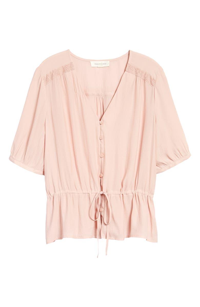 TREASURE & BOND Lace Trim Drawstring Shirt, Main, color, PINK SMOKE