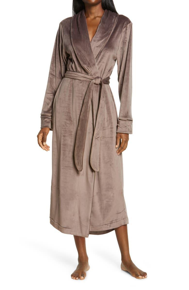 SKIMS Velour Women's Long Robe, Main, color, AMETHYST