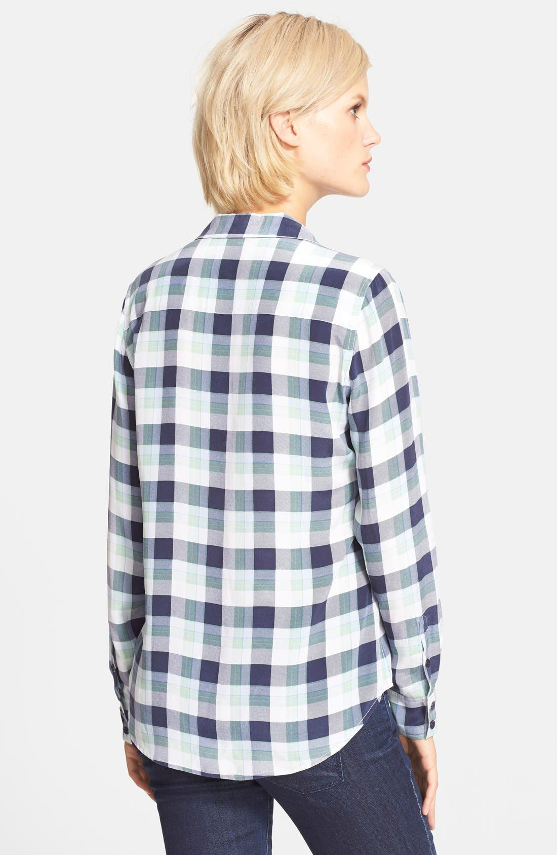 ,                             'Adalyn' Plaid Silk Shirt,                             Alternate thumbnail 3, color,                             400