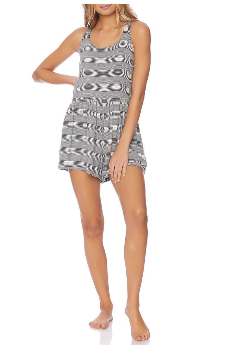 SPLENDID Stripe Sleeveless Romper, Main, color, NAVY