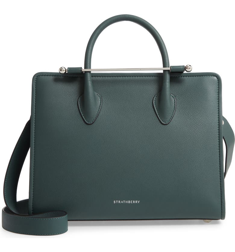 STRATHBERRY Midi Calfskin Leather Convertible Tote, Main, color, BOTTLE GREEN