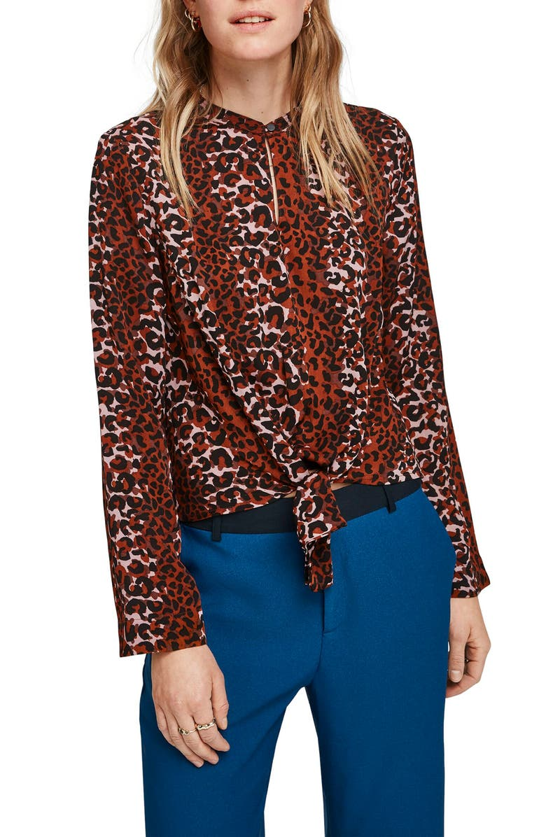 SCOTCH & SODA Leopard Print Tie Front Blouse, Main, color, 600