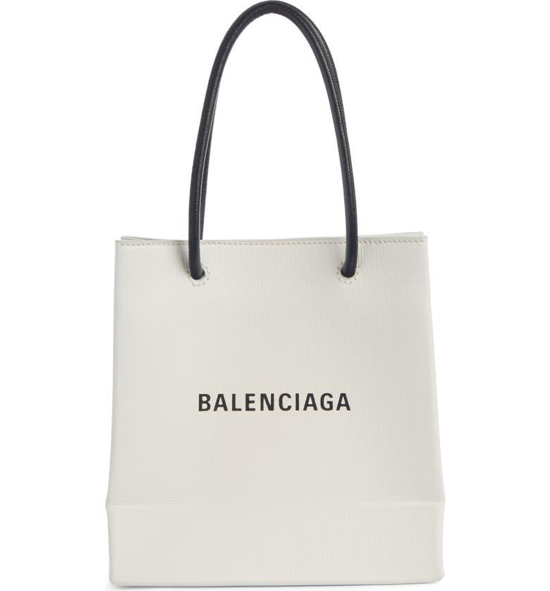 BALENCIAGA Extra Extra Small AJ Calfskin Shopper Tote, Main, color, WHITE