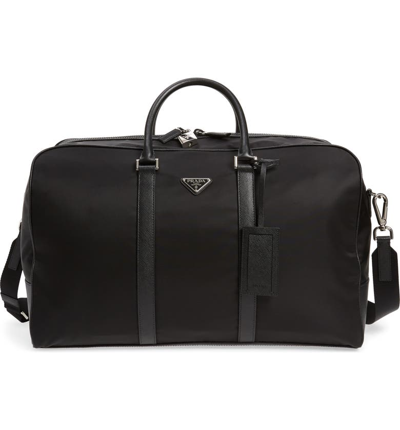 PRADA Tessuto Duffle Bag, Main, color, BLACK