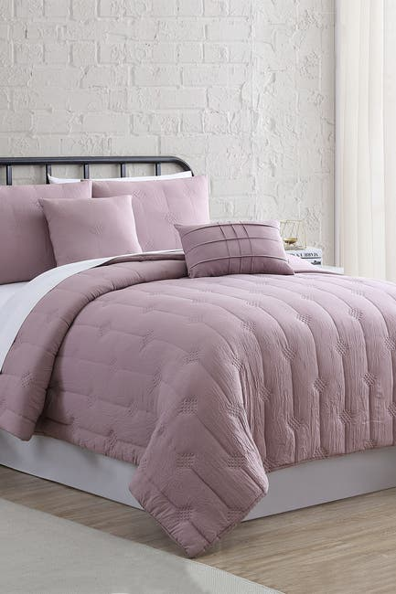 Image of Modern Threads 5-Piece Embroidered Garment-Washed Comforter Set - Eldon Thistle - Queen