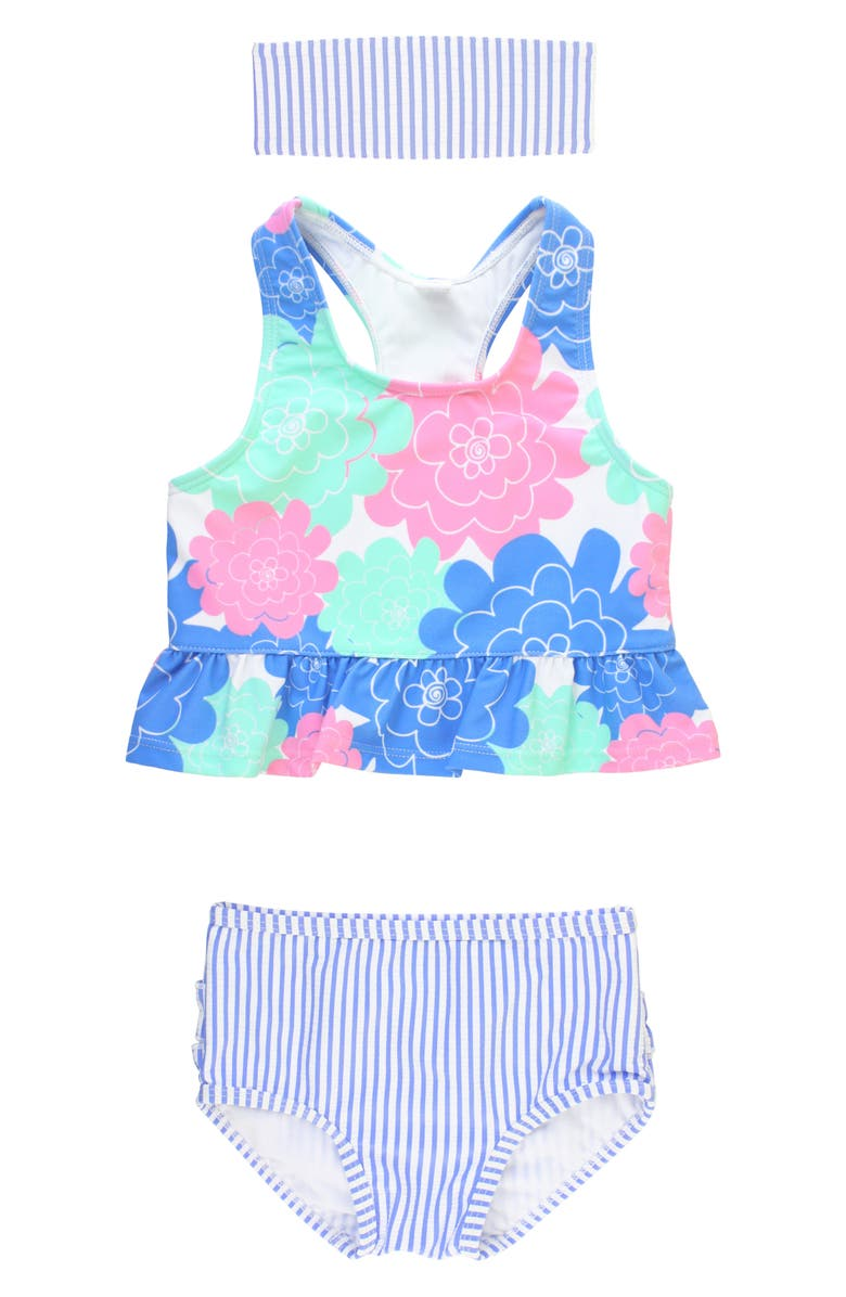 RUFFLEBUTTS Pastel Petals Two-Piece Swimsuit & Head Wrap Set, Main, color, BLUE