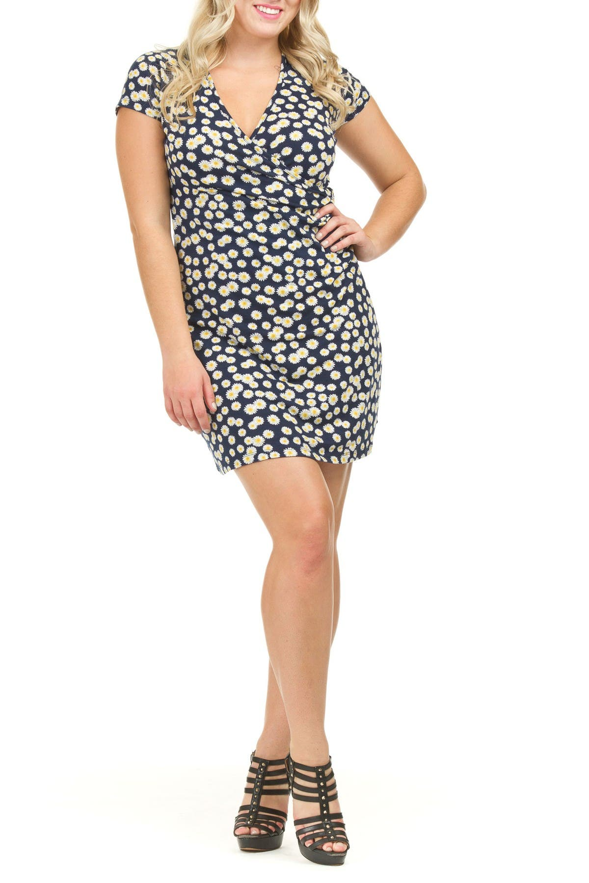 Image of Papillon Daisy Wrap Ruched Side Dress