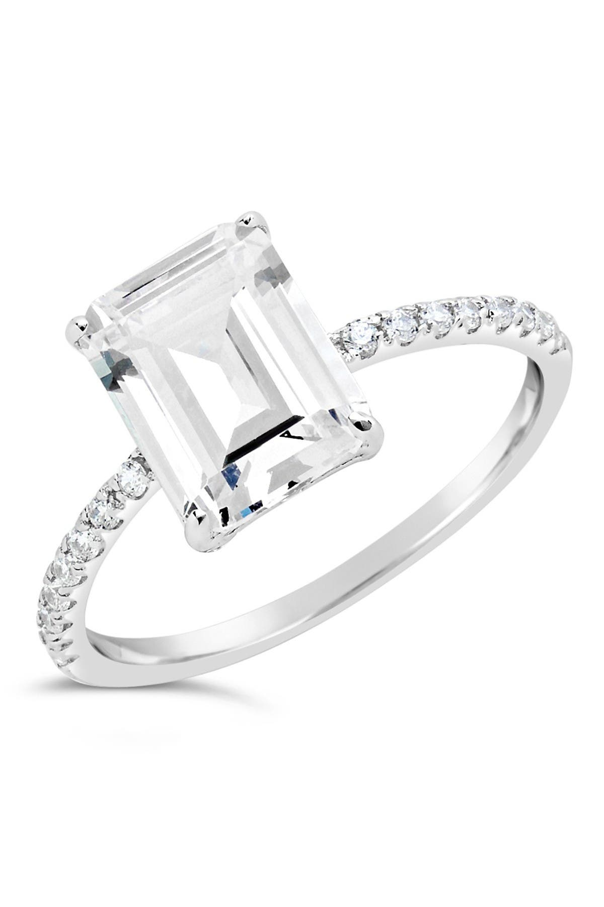 Image of Sterling Forever Sterling Silver Emerald Cut CZ Ring