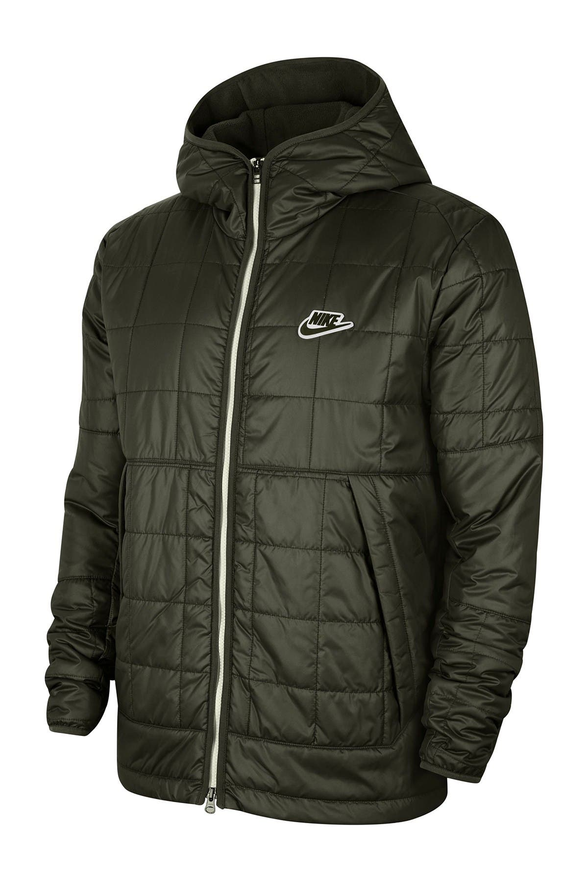 Image of Nike Quilted Zip Front Hooded Jacket