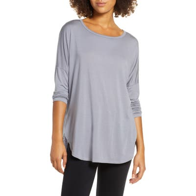 Groceries Apparel Karly Long Sleeve Curved Hem Tee, Blue