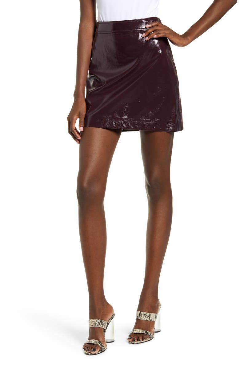 LEITH Faux Patent Miniskirt, Main, color, BURGUNDY FUDGE
