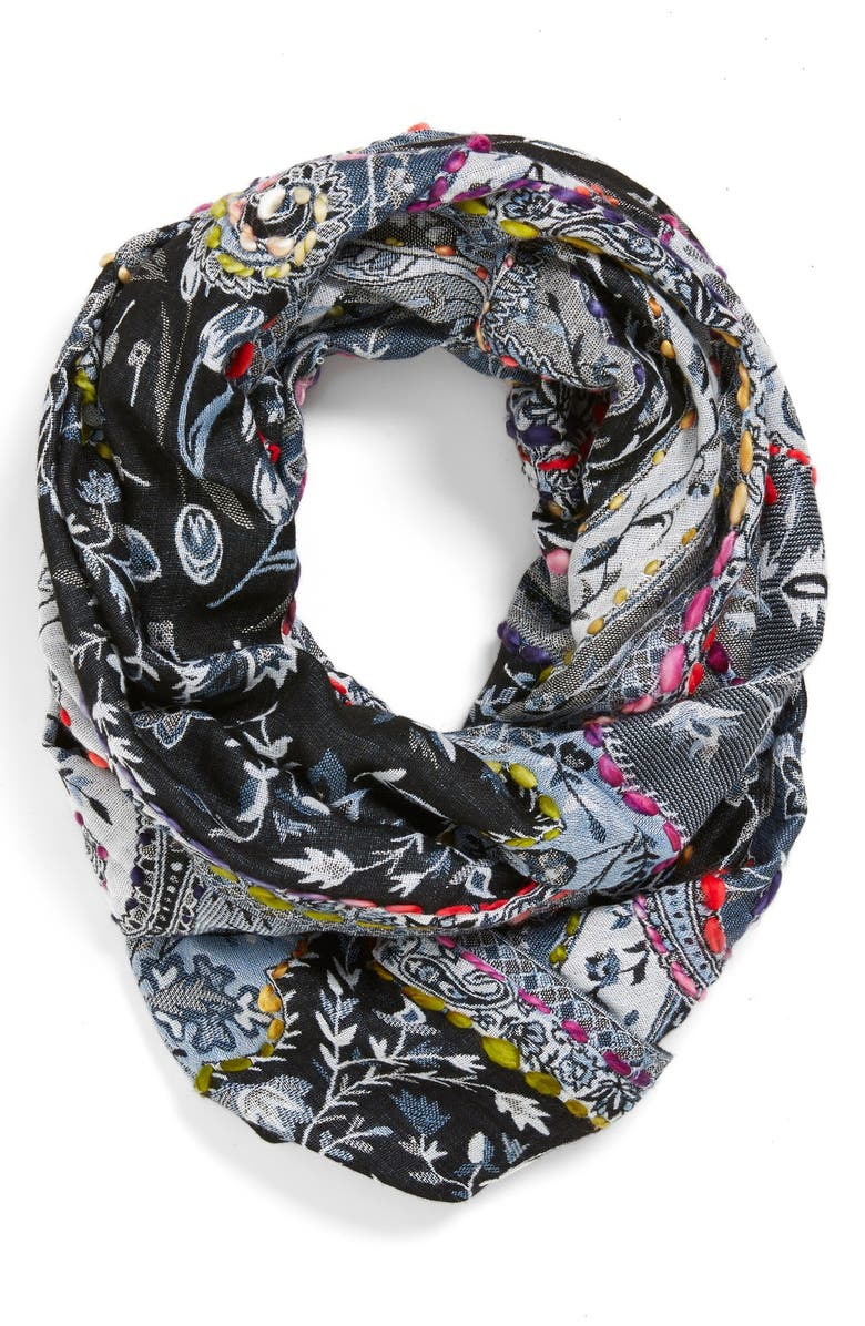 RAJ IMPORTS Embroidered Infinity Scarf, Main, color, 400
