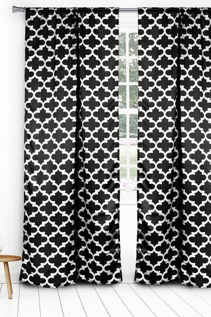 Image of Duck River Textile L'kyra Geometric Blackout Curtain Set - Black
